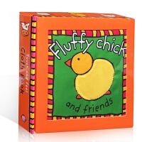 英文原版Fluffy Chick and Friends?毛茸茸的小鸡和朋友们 动物认知 触摸书 触感启发认知 布书
