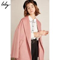 【羊绒大衣】Lily2018冬新款女装大翻领宽松暗扣双面呢羊绒大衣