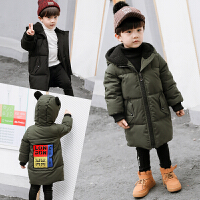 男童羽绒中小童冬季保暖中短款外套连帽
