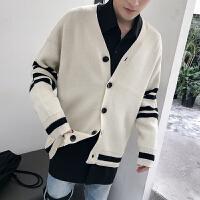 秋冬秋季青年宽松针织衫V领韩版开衫长袖男士休闲学生毛衣