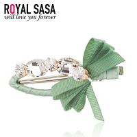 皇家莎莎RoyalSaSa韩版女发夹发饰人造水晶手工边夹刘海夹鸭嘴夹一字夹头饰