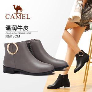 camel/骆驼女鞋 2017秋冬季新款短靴女低跟时尚女靴百搭短筒靴子