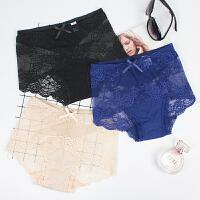 3条蕾丝大码内裤女200斤高腰莫代尔加肥加大裆三角裤