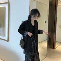 简约韩风 Chic气质宽松小翻领西装外套女+荷叶边格子半身裙