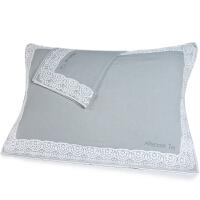 [当当自营]三利 全棉布艺边花纹样枕巾1对 AB版 53×75cm/2条装 冰川灰