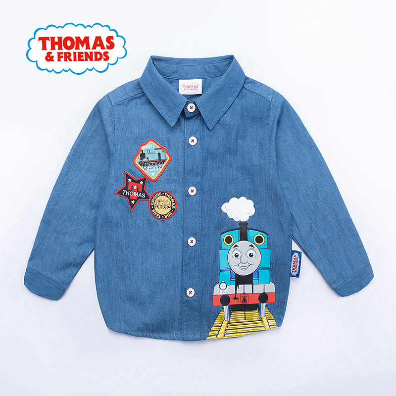 【满200减100】托马斯童装正版授权男童秋装全棉牛仔衬衫卡通上衣托马斯和朋友