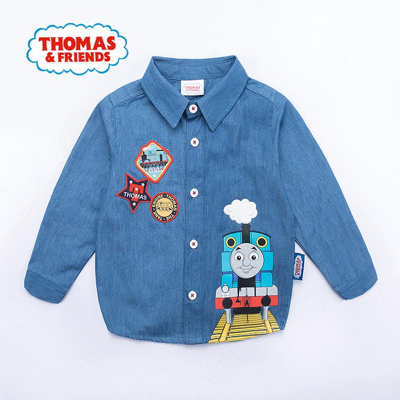 【满100减50】托马斯正版童装男童春装全棉时尚牛仔衬衫卡通上衣