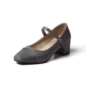 O'SHELL欧希尔夏季上新009-C8-3韩版粗跟高跟女士单鞋
