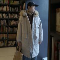 2018新款冬季棉衣外套男士韩版潮流学生中长款加厚大毛领棉袄