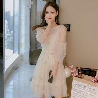 2019春夏装星星刺绣收腰灯笼袖连衣裙+吊带裙两件套裙子女装