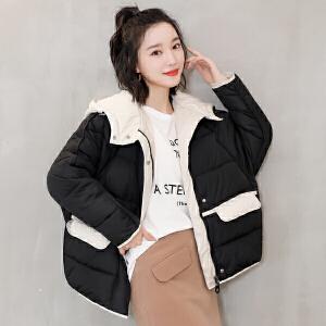 纤纯伊冬季新款韩版短款面包加厚连帽棉服女