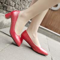 彼艾2017新款韩版尖头高跟鞋红色婚鞋OL单鞋浅口漆皮性感粗跟女鞋子
