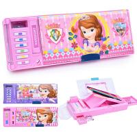 迪士尼 文具盒女小学生苏菲亚女孩可爱卡通笔盒儿童自动多功能塑料铅笔盒