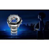时尚潮流LED双显表盘男士电子手表多功能精钢防水夜光石英表