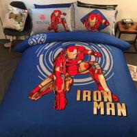 【人气】卡套通儿童蜘蛛侠纯棉四床上男孩被套床单件套全棉件三用品学生