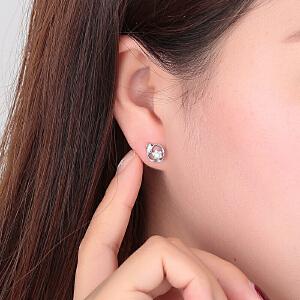 Romanti/罗曼蒂白18k金钻石耳钉女士耳环单钻耳坠正品送女友耳饰需定制