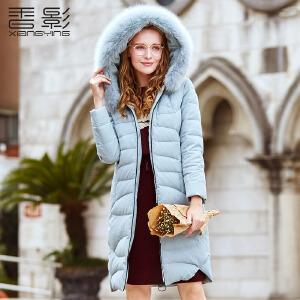 羽绒服女中长款 香影2017冬装新款韩版大毛领修身连帽外套加厚潮