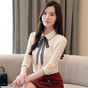 2018秋装韩版气质花朵翻领系带百搭雪纺衬衫打底上衣女