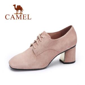 camel 骆驼女鞋  秋季新品 简约时尚高跟鞋 休闲系带方头粗跟单鞋女