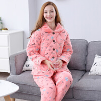 芬腾 睡衣女秋冬珊瑚绒夹棉睡衣新品可爱卡通保暖睡衣家居服套装