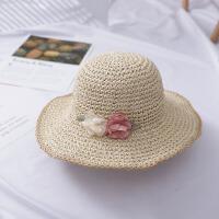 婴儿帽子儿童帽女草帽沙滩帽出游遮阳帽太阳帽女宝宝帽子春游帽子 均码 儿童款(50-52cm)建议2-5岁