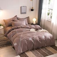 20191109082558282纯棉磨毛四件套全棉被套床单1.5/1.8床上用品简约三件套 2.0m四件套适合 22