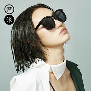 音米圆形墨镜女可配近视太阳镜圆脸复古墨镜女长脸偏光镜司机镜