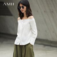 【3折价:101元/再叠优惠券】Amii秋露肩一字领吊带宽松长袖衬衫