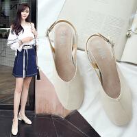 专柜同款粗跟平底凉鞋女韩版包头一字扣带中跟休闲女鞋Q18