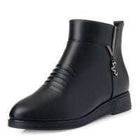 妈妈鞋冬季加绒软皮棉鞋女保暖防滑平底中年皮鞋软底中老年短靴子 单鞋 508 黑色