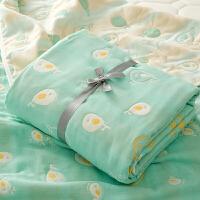 日系云柔卡通六层纯棉宝宝纱布盖毯新生儿包被儿童毛巾被