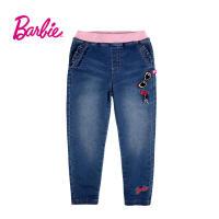 【每满200减100】Barbie芭比女童装秋装牛仔裤松紧腰荷叶边口袋中童裤子