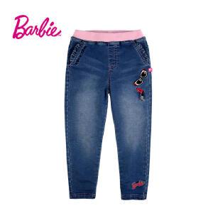 【满200减110】芭比童装女童秋装牛仔裤松紧腰荷叶边口袋中童裤子长裤