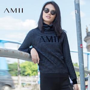 【品牌团 1件7折/2件5折】AMII[极简主义]女冬新品堆堆领立体字母针织大码毛衣11672033