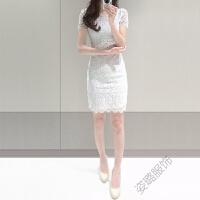 蕾丝连衣裙2018夏女修身气质收腰韩版白色短袖复古包臀裙仙女