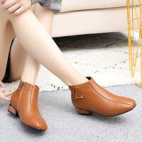 春秋粗跟短靴中跟方头女靴大码全牛皮软底女鞋短筒舒适单靴子 棕色 棉靴