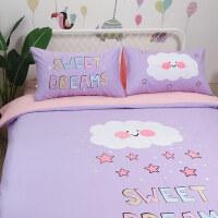 儿童床品四件套女孩纯棉 粉色可爱公主风卡通三件套女童单人被套 2米床四件套(适合被子2.2x2.4米) 床单款