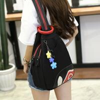 牛津布双肩包女士胸包新款韩版时尚潮百搭尼龙旅行包防盗背包书包 黑色