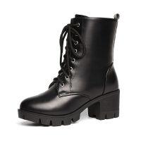 韩版短靴女秋冬雪地靴加绒系带百搭新款高跟粗跟女靴马丁靴英伦风 黑色 黑色 薄绒
