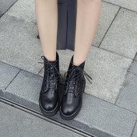 马丁靴女粗跟2018新款冬季百搭皮靴子春秋中筒靴加绒厚底高跟短靴