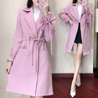 卡茗语秋装2017新款韩版显瘦翻领气质时尚系带中长款风衣外套女潮