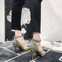 法式少女高跟鞋小清新2019新款女鞋韩版百搭尖头高跟单鞋女一字扣夏季百搭鞋