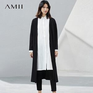 Amii2017秋新女大码通勤休闲V领单扣毛针织衫11781270