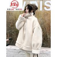 2018新款冬季女装韩版复古宽松加厚仿羊羔毛皮毛一体棉衣外套 米白色 均码