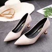 春秋新款韩版细跟单鞋中跟猫跟高跟鞋百搭尖头女鞋职业黑色工作鞋