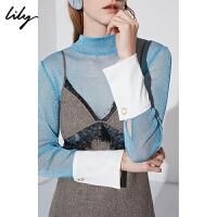 Lily春新款女装气质亮丝透视感薄纱打底衫蕾丝衫118410A8753