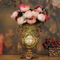 奢华复古客厅装饰品花瓶摆件 玄关电视柜工艺品摆设 欧式花瓶花艺SN2091 +3束大花