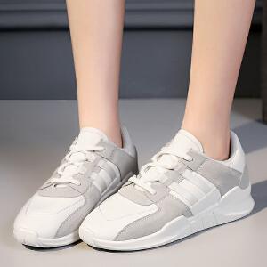 专柜同款【真皮】中跟单鞋女韩版厚底撞色透气休闲运动女鞋AK01