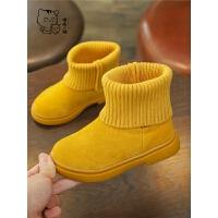 儿童女童袜靴保暖加绒靴短靴宝宝棉鞋