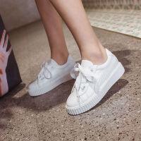 韩版小白鞋女2019秋冬季新款百搭学生系带板鞋内增高厚底女鞋加绒